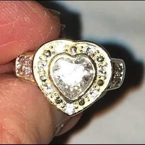Silver and Zirconia Heart Ring Size 8